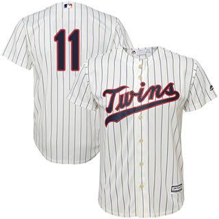 Youth Twins #11 Jorge Polanco Cream Strip Stitched Baseball Jersey