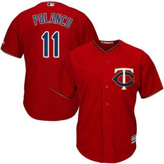 Youth Twins #11 Jorge Polanco Red Stitched Baseball Jersey