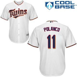 Youth Twins #11 Jorge Polanco White Stitched Baseball Jersey