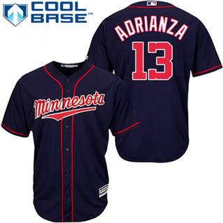 Youth Twins #13 Ehire Adrianza Navy Blue Stitched Baseball Jersey