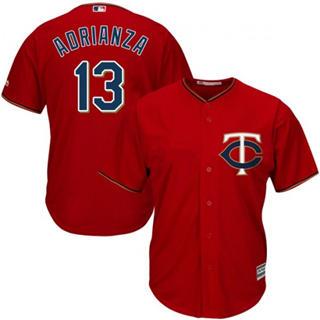 Youth Twins #13 Ehire Adrianza Red Stitched Baseball Jersey