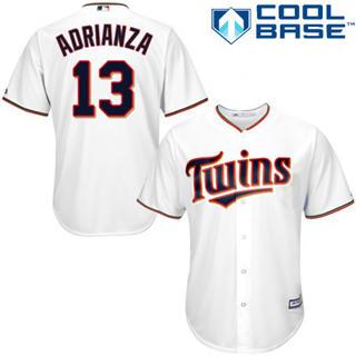 Youth Twins #13 Ehire Adrianza White Stitched Baseball Jersey