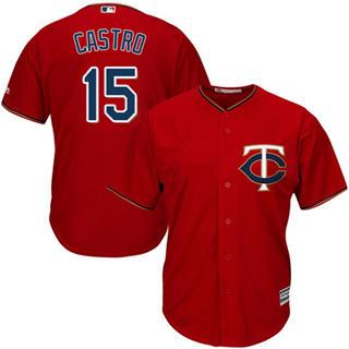 Youth Twins #15 Jason Castro Red Stitched Baseball Jersey