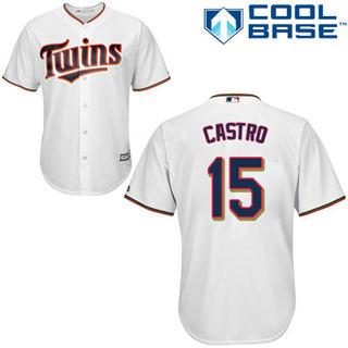Youth Twins #15 Jason Castro White Stitched Baseball Jersey