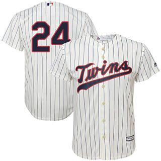 Youth Twins #24 C.J. Cron Cream Strip Stitched Baseball Jersey