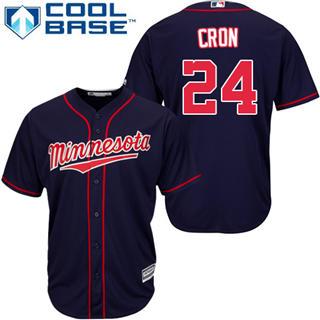 Youth Twins #24 C.J. Cron Navy Blue Stitched Baseball Jersey