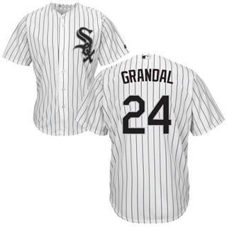 Youth White Sox #24 Yasmani Grandal White(Black Strip) New Stitched Baseball Jersey